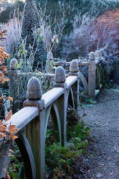 Wollerton Old Hall garden in winter frost