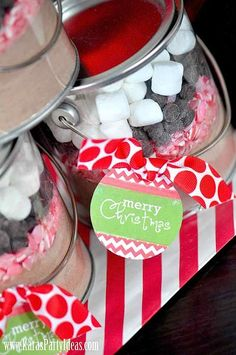 FREE TAGS! DIY Layered Hot Chocolate Pails - fun gifts or favors!