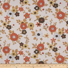 Kaufman Lennox Gardens Cotton Lawn Small Floral Tan from @fabricdotcom  Designed for Kaufman Fabrics, this very lightweight fabric is a finely woven, high count combed cotton lawn that is very soft and has an ultra smooth hand. It is perfect for flirty blouses, dresses, shirts, lingerie, tunics, tops and even quilting. Colors include sweet potato, dark brown, maize, and white on a light tan background.