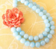 Flower Necklace Statement Necklace Coral Jewelry Aqua Necklace Bridesmaid Jewelry Gift Double Strand Beadwork
