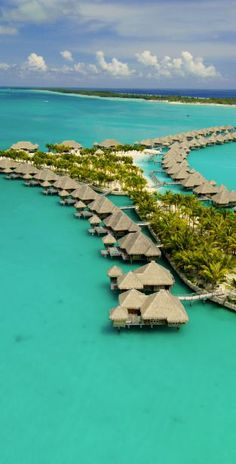 Thatched-roof villas in #BoraBora.