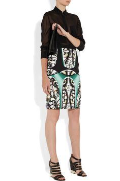 Peter Pilotto|Eleni printed stretch-crepe pencil skirt