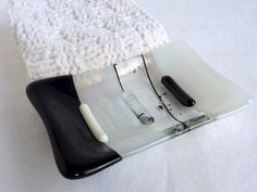 Glass Soap Dish in Black and White by bprdesigns on Etsy, $15.00