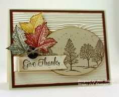 """handmade Thanksgiving card fromThe Stampin' Schach: Lovely As a Tree ...white wood grain embossing ... kraft oval die cut with brown trees ... stamped, dicut and folded leaves ... luv the curly font for """"Give Thanks"""" ... Stampin' Up!"""