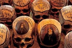 Some of the skulls in the ossuary of the 15th century Neamt Monastery have little paintings showing their owners in life, others simply state the names and dates of the monks.