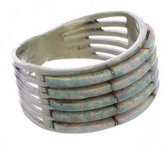Sterling Silver And Opal Inlay Zuni Indian Jewelry Ring Size 8-3/4 EX26758