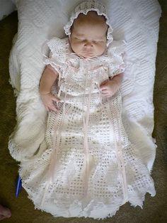 white thread crochet dress