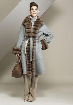 Sable Fur Trimmed Cashmere Coat