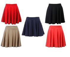 New Womens Spring Summer Casual School Jersey Skater Skirt Flared Frilled Skirt
