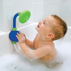 baby shower head. So much playtime without constantly running water! Good practice for showers