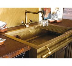 Brass or gold sinks, love the towel bar!  www.fromtherightbank.com