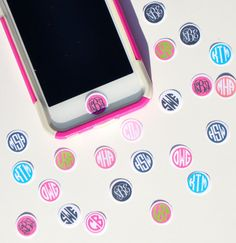 Personalized, Custom Monogrammed IPhone IPod IPad Home Button Stickers--Set of Three