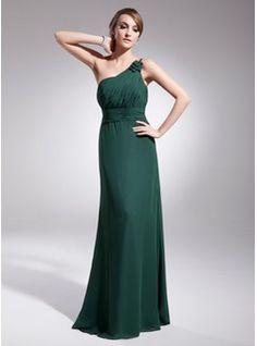 Sheath One-Shoulder Floor-Length Chiffon Evening Dress With Ruffle (017014567)