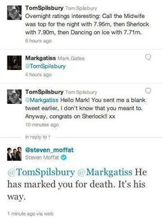 Mark Gatiss marking people for death