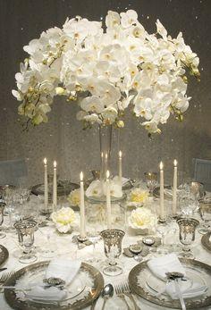 Centro de mesa para boda blanco