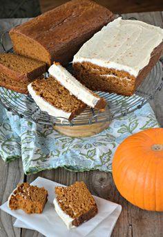 Orange Pumpkin Bread with Cinnamon Cream Cheese Icing