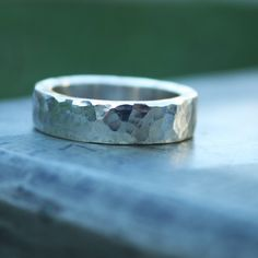 Hammered Textured Sterling Silver Ring chunky 5.5mm wide band. $70.00, via Etsy.