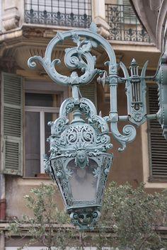Ornate street lamp in Nice, France
