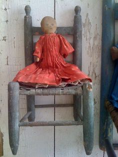19Th C Early Cloth Doll in original Red Calico Dress