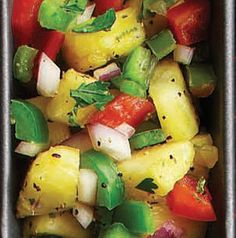 Remember, salsa isn't just for dipping. Serve Pineapple and Pepper Salsa with grilled fish. Or use it on chicken tacos! tri recip, chicken tacos, bon appetit, healthi menu, springsumm dish, yummi food, summer foodi, insulin resist