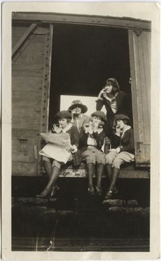 Smoking Girls on a Train Car, 1920s