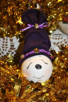 OOAK+Hand+Painted+Purple+Stars+Snowgirl+Light+bulb+by+TracysCrtns,+$11.00