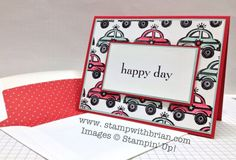 With a nice stamp of text, you could do this with all kinds of background patterned paper. Nice! You're My Hero, Happy Day, Stampin' Up!, Brian King, PP163