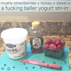 Buy cheap berries that are about to turn, a big tub of plain yogurt and then BAM! You got yourself some badass berry #yogurt.