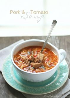 """Pork & Tomato """"Rice"""" Soup – a delicious and comforting low carb, gluten free, dairy free, nut free, keto, lchf and Atkins diet friendly soup recipe that won't break the bank!"""