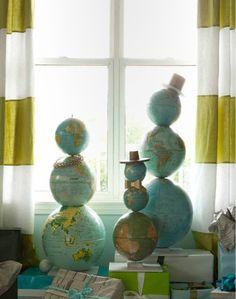 globe snowmen. famili, decorating ideas, christmas decorations, snow globes, map, world globes, christmas snowman, holiday decorating, the holiday