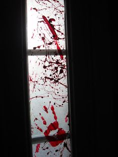 Muse Lodge: A Bloody Mess. Wax Paper and Paint, easy Halloween party decor.