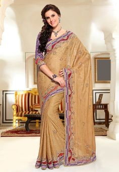 Beige Faux Chiffon Jacquard Saree with Blouse @ $250.00