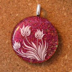 Dichroic Floral Pendant Fused Glass Pendant Fused by GlassMystique, $28.00