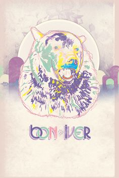 poster design, bears, gig poster, inspir, music posters, favorit artist, bonni bear, bon iver poster, listen