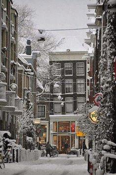 Snow in, Amsterdam   via James Orlando