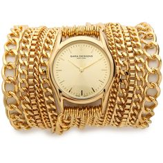 Sara Designs All Chain Wrap Watch - Gold found on Polyvore