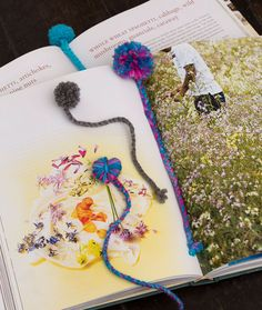 Pom Pom Bookmarks are great yarn crafts for kids who love to read!