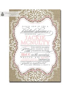 Lace Bridal Shower Invitation Linen Burlap Pink Pastel Vintage Rustic Wedding Invite Rose Pink Printable Digital or Printed - Jackie Style