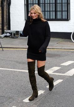 Kate Moss in all black