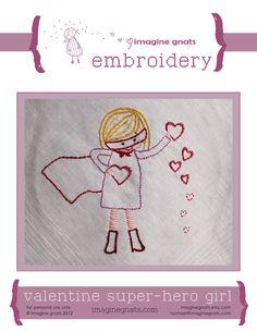embroidery: valentine super hero girl pattern. $5.00, via Etsy.