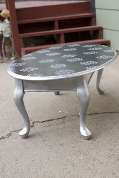 Coffee table that I created--spray paint and stencils!