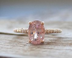 2.50 Cts. Champagne Peach Sapphire Diamond Ring in by Studio1040