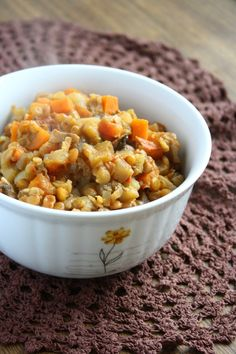Vegetable Stew with Lentils - Recipe has carrots, mushrooms, lentils and eggplant, but i'll substitute the eggplant for squash or zucchini or both! :)