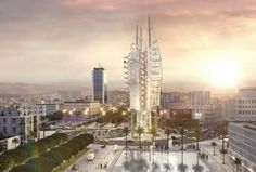 The Revolution Tower And The Square of 14 Janvier In Tunis