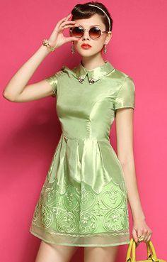 Green Short Sleeve Lapel Contrast Lace Organza Dress