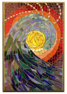 """The Art of the Ocean has reef scenes, fish, surfers and waves made from glass and shells, inspired by our island home. """"Clear glass works so beautifully to represent water and I love creating mosaics with shells that my sisters and I have found during our morning walks. Monika Morakis, Maui Mosaic Artist"""