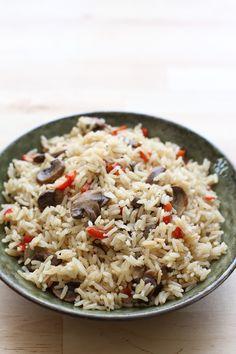 Mushroom Pepper Rice Pilaf
