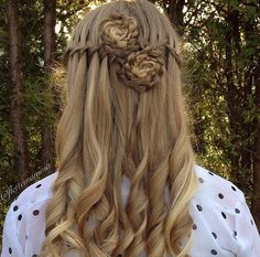 Half up half down flower braids