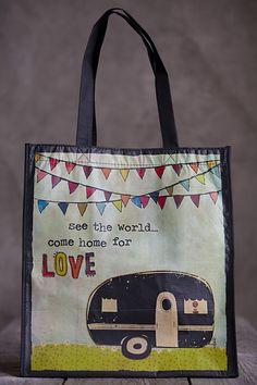 Vintage camper grocery bag