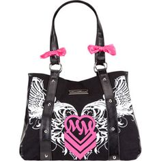 Metal Mulisha Backfire tote bag. Metal Mulisha logo screened on front with Metal Mulisha logo plate. Faux leather trim. Contrast bow accents on straps. Magnetic snap main compartment with internal zip pocket and organizer pockets. Imported.$37.99